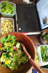 Making salad and working on laptop
